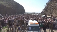"""المئات في الضالع يشيعون جثمان القيادي في الجيش الوطني """"ريشان"""""""