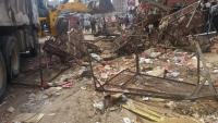 مليشيات الانتقالي تهدم أحد أكبر أسواق القات في عدن