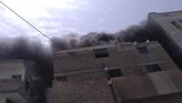 حريق يلتهم مستشفى الدار بعدن