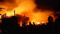 وفيات وإصابات اثر اندلاع حريق في حي سكني بصنعاء