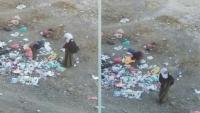 جريمة بحق الطفولة.. ناشطون يأسون على طفلين يمنيين يبحثان عن الطعام في النفايات