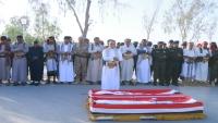 تشييع رسمي وشعبي لرئيس عمليات قوات الأمن الخاصة ومرافقه بمأرب