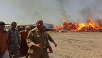 حريق في مستودع أخشاب بمحافظة لحج يلتهم 11 منزلاً